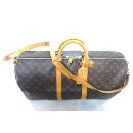 Louis Vuitton-keepall 55 monogram shoulder strap-Brown