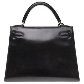 Hermès-Hermes Kelly 28 Black Box Leder, vergoldete Metallverkleidung-Schwarz