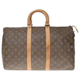 Louis Vuitton-Sac de voyage Keepall 45 en toile Monogram-Marron