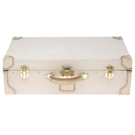 Hermès-Superb & Rare Hermès bi-material rigid suitcase in canvas and white leather, brass trim-White