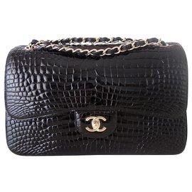 Chanel-BAG CHANEL CLASSIC ALLIGATOR BLACK-Black