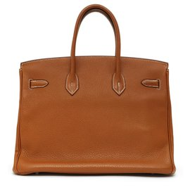 Hermès-Birkin 35 TOGO CAMEL SILVER HDW-Silvery,Caramel