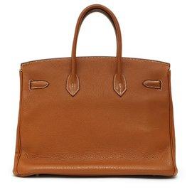Hermès-BIRKIN 35 TOGO CAMEL SILVER HDW-Argenté,Caramel
