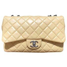 Chanel-Chanel Beige Jumbo Bijoux chain classic flap bag-Beige