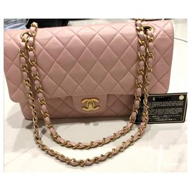 Chanel-Rare Chanel pink lambskin medium classic flap bag-Pink