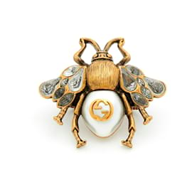 Gucci-BEE RING CRYSTALS AND PEARL XXL NEW-Doré
