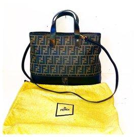 Fendi-Vintage Zucca FF 2 Way Tote Bag-Brown,Black