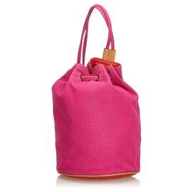 Hermès-Hermes Pink Canvas Polochon Mimile-Pink