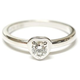 Cartier-Cartier Argent Diamants Legers Bague Solitaire Cœur Diamant-Argenté