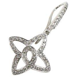 Louis Vuitton-Louis Vuitton Silver 18K Diamond Les Ardentes Fleur Earrings-Silvery