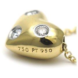Tiffany & Co-Tiffany Gold 18K Diamond Heart Pendant Necklace-Silvery,Golden