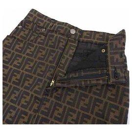 Fendi-Vintage Zucca FF Mini Skirt-Khaki