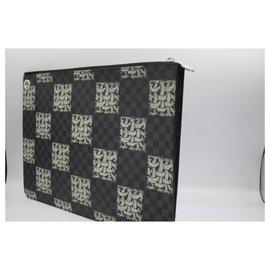Louis Vuitton-Louis Vuitton Damier graphite clutch – limited edition by Christopher Nemeth-Black,White,Dark grey
