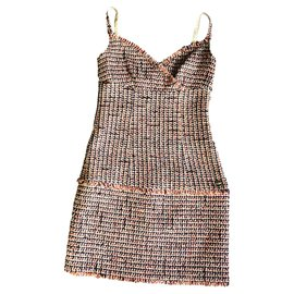 Chanel-robe d'été en tweed-Multicolore