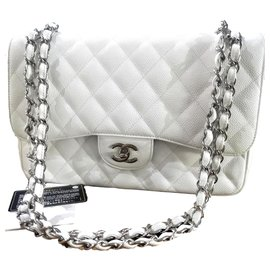 Chanel-Chanel white Jumbo classic lined flap bag-White