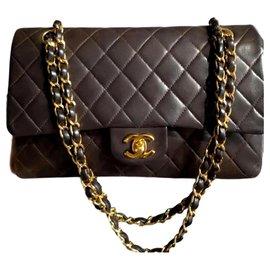 Chanel-Rare Chanel Chocolate Brown lambskin medium timeless classic flap bag-Brown