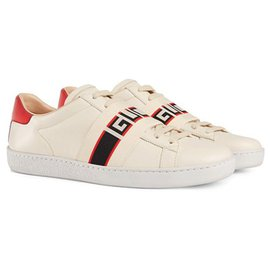 Gucci-Baskets blanches Ace Stripes Gucci-Blanc,Rouge