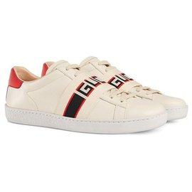 Gucci-Gucci White Ace Stripe Sneakers-White,Red
