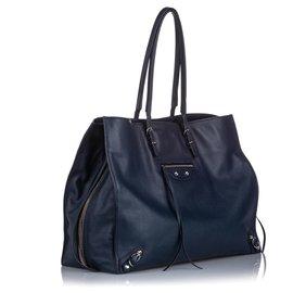 Balenciaga-Balenciaga Black Papier A4 Leather Zip-Around Tote-Black