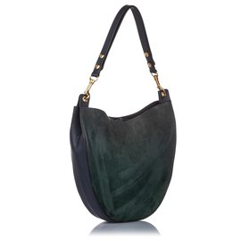 Céline-Celine Green Nubuck Leather Hobo-Black,Green,Dark green
