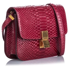Céline-Celine Red Small Python Classic Box Bag-Red,Other