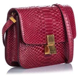 Céline-Celine Red Kleine Python Classic Box Tasche-Rot,Andere
