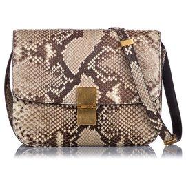 Céline-Celine Brown Small Python Classic Box Bag-Brown,Beige,Dark brown
