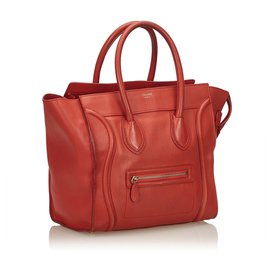 Céline-Celine Red Leather Luggage Tote-Red