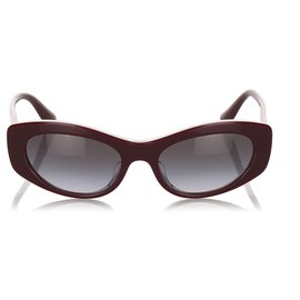 Dolce & Gabbana-Dolce&Gabbana Red Oval Tinted Sunglasses-Red,Other