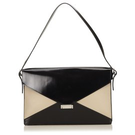 Céline-Celine Black Leather Diamond Shoulder Bag-Brown,Black,Beige