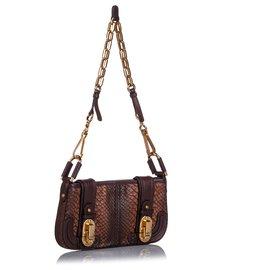 Chloé-Chloe Brown Python Leather Baguette-Brown,Dark brown