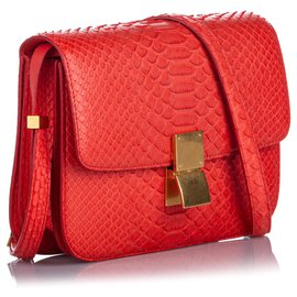 Céline-Celine Red Small Python Classic Box Bag-Red