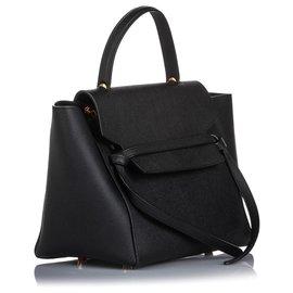 Céline-Celine Black Mini Belt Leather Satchel-Black