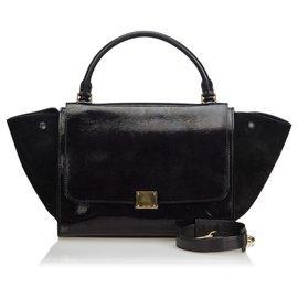 Céline-Celine Black Patent Leather Trapeze Satchel-Black