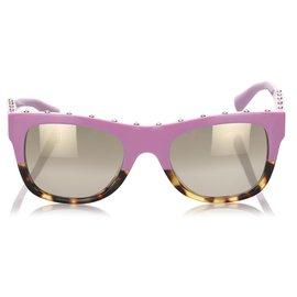 Valentino-Valentino Pink Square Mirror Sunglasses-Brown,Pink