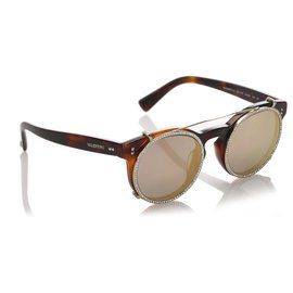 Valentino-Valentino Brown Round Mirror Sunglasses-Brown,Multiple colors