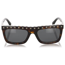 Valentino-Valentino Brown Rockstud Tinted Sunglasses-Brown,Black