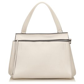 Céline-Celine White Leather Large Edge-Weiß,Roh