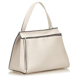 Céline-Celine White Leather Large Edge-White,Cream