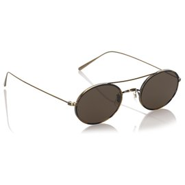 Oliver Peoples-Oliver Peoples Green Shai Round Tinted Sunglasses-Golden,Green,Dark green