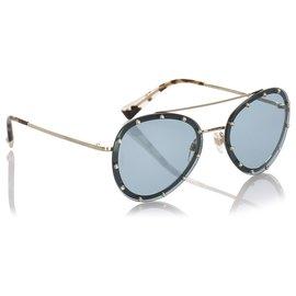 Valentino-Valentino Green Crystal Embelished Aviator Sunglasses-Green