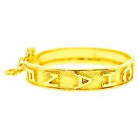 Chanel-Rare Vintage Gold Plated Logo Hinged Bangle-Golden