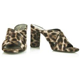 Saint Laurent-Saint Laurent YSL LouLou mules Pony hair Leopard Slingback Heels Pumps 37-Leopard print