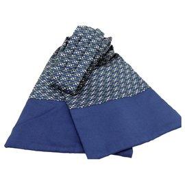 Hermès-HERMES ASCOTT EM SEDA-Azul,Verde