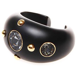 """Louis Vuitton-Limited Edition Runway Black Resin w/ Crystals """"Over the Rainbow"""" Bangle-Black"""
