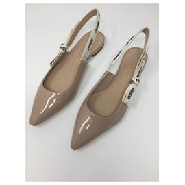 Dior-ballerine dior j'adior cuir verni couleur beige nude-Beige