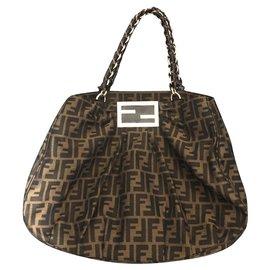 Fendi-Monogram cloth bag-Brown