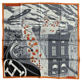 Hermès-Seiden Schals-Grau