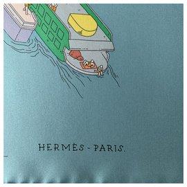 Hermès-Lenços de seda-Azul
