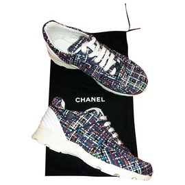 Chanel-2017 Cruise tweed CC logo sneakers-Multiple colors